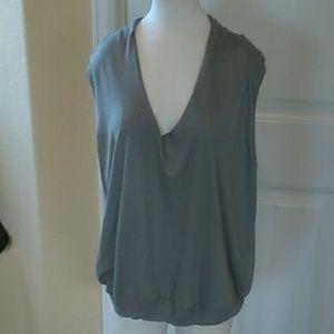 Sleeveless Low V neck blouse